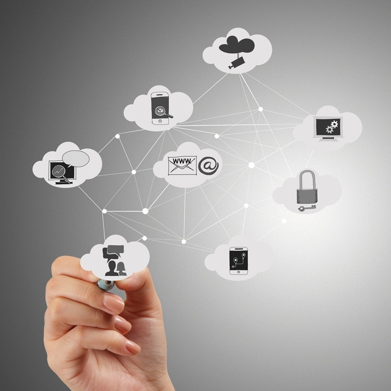 A picture of a network and framework of technology including smartphones, email, cloud, etc