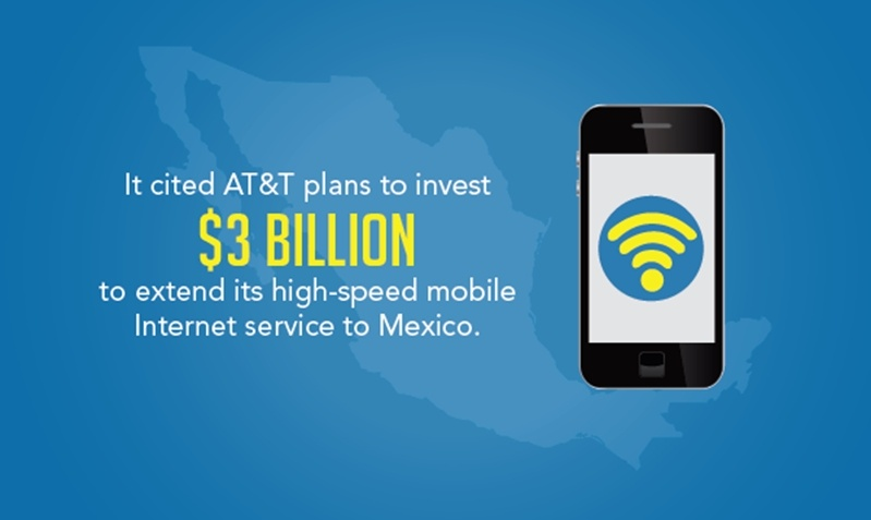 """Cell phone illustration with text reading, """"It cited AT&T plans to invest $3 billion to extend its high-speed mobile internet service to Mexico."""""""